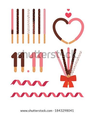 pepero day. Korean event concept illustration. Stick confectionery with chocolate.
