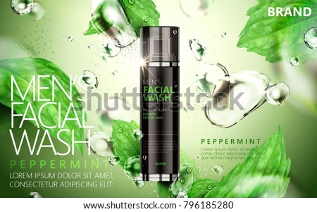 Peppermint face wash for men with bubbles and leaves floating in the air isolated on green background, 3d illustration