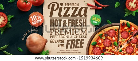 Pepperoni cheese pizza banner ads with rich ingredients in 3d illustration, flat lay angle
