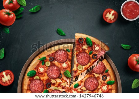 Pepperoni pizza ads with delicious ingredients on chalkboard background in 3d illustration