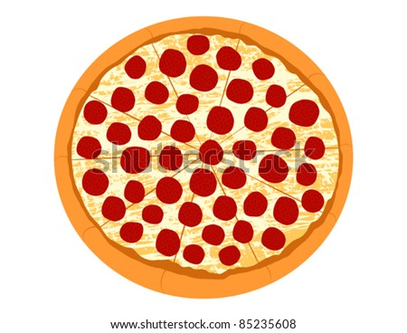Pepperoni Pizza - Vector Illustration