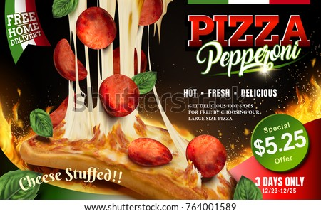 pepperoni pizza with stringy