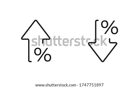 Percent arrow isolated icon in line style. Vector business concept in flat. ストックフォト ©