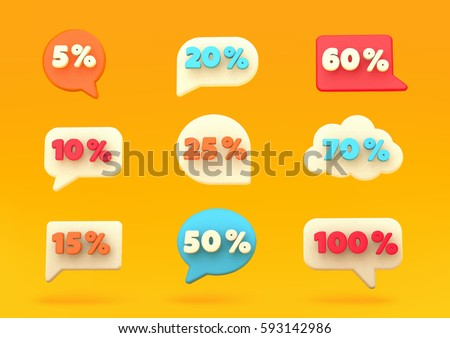 Percent discount number bubbles, promotional leaflet, promotion,on line store. Vector illustration. Render. #593142986