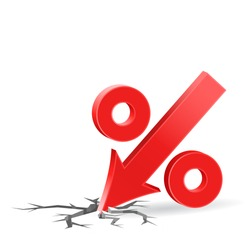 Percent down icon with surface crack, crisis concept sign, 3d vector on white background, eps 10