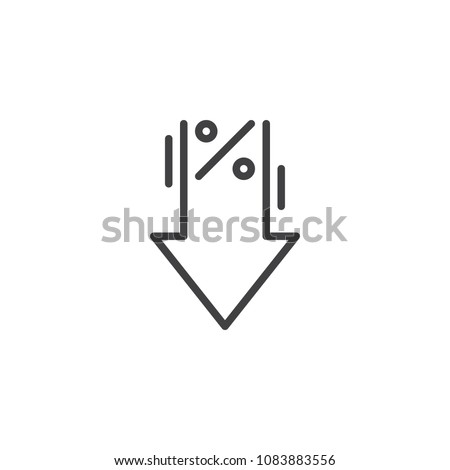 Percent down outline icon. linear style sign for mobile concept and web design. Percentage, arrow, reduction simple line vector icon. Symbol, logo illustration. Pixel perfect vector graphics