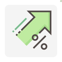 Percent increase vector design. Consist of up arrow and percent sign, icon or symbol. Concept for percentage of interest  rate, growth profit,  stock price etc. Thin line or outline of shape. 48x48 px