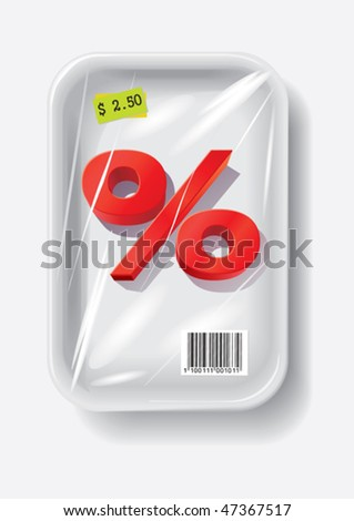 percent sign in plastic container, vector illustration