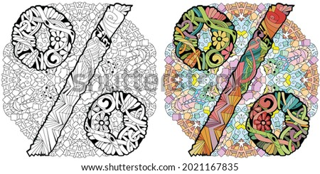 Percent sign on mandala Zentangle. Vector decorative unusual object. Colored and outline set