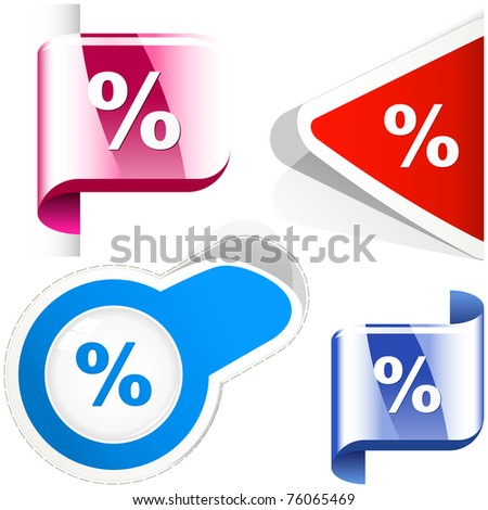 Percent. Vector set.