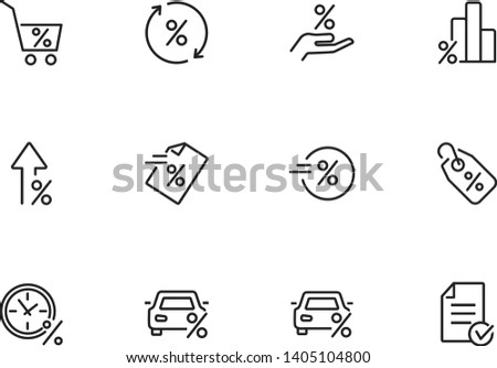 Percentage line icon set. Promotion, car, tag. Marketing concept. Can be used for topics like shopping, progress, sale Foto stock ©
