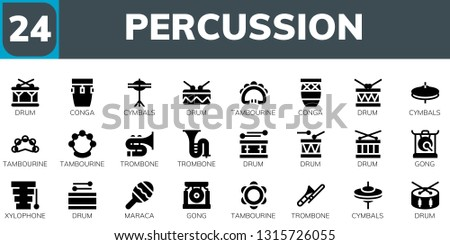 percussion icon set. 24 filled percussion icons.  Collection Of - Drum, Conga, Cymbals, Tambourine, Trombone, Gong, Xylophone, Maraca
