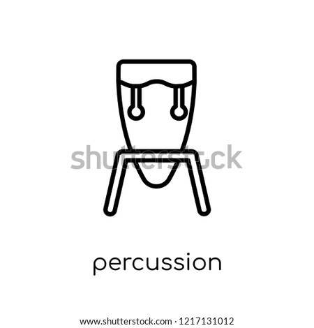 percussion icon. Trendy modern flat linear vector percussion icon on white background from thin line Music collection, outline vector illustration