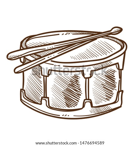 Percussion or drum with drumsticks isolated sketch, musical instrument vector. Music creation or sound recording, studio equipment, beat and rhythm. Pop and rock, instrumental melody or song playing