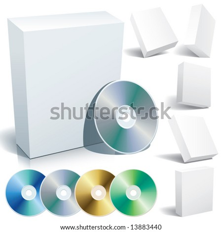 Perfect blank boxes with DVD in a variety of positions. Set of design elements.