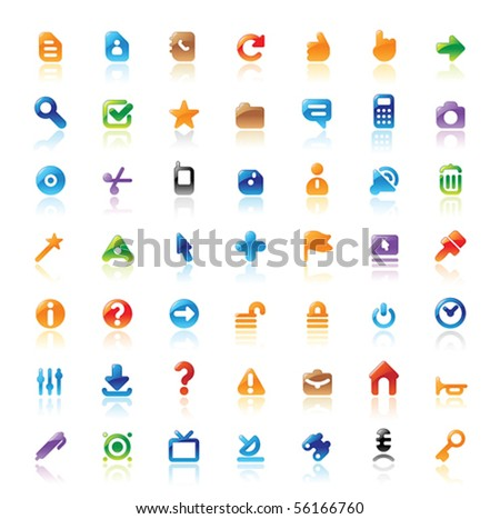 Perfect designer vector icons for computer interface. Main shape, highlights and reflection are in separate layers.