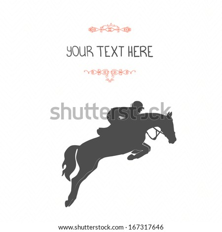 Perfect equine template with jumping horse and rider and place for your text.