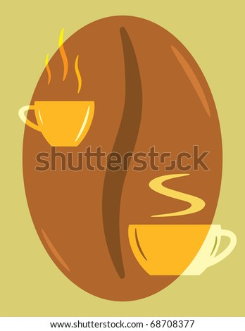 perfect logo with coffee and cappuccino cups on coffee bean background