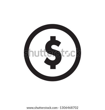 Perfect Money icon vector. Dollar vector.  Payment system. Coins and Dollar cent Sign isolated on white background. Website and mobil apps