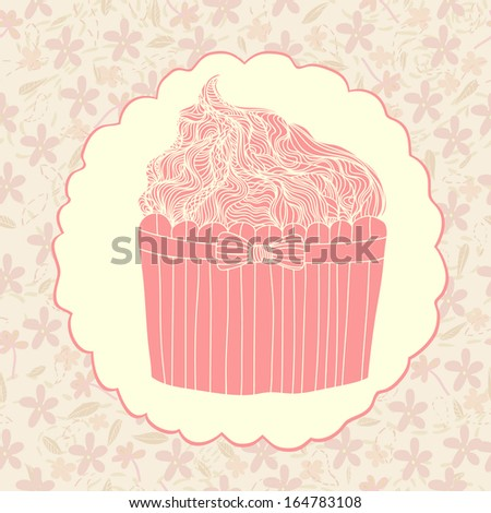 Perfect pink cup cake on a floral background in romantic frame. Cute ...