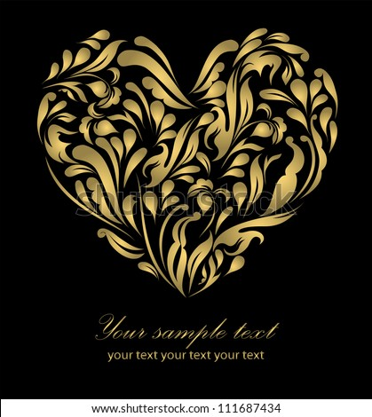 Perfect retro gold floral heart isolated on beautiful black background with your text, vector  eps 8, for sign, symbol, icon, web, emblem, label