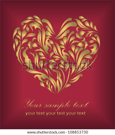 Perfect retro red floral heart isolated on beautiful background with your text (vector version eps 10). Perfect for sign, symbol, icon, web, emblem, label
