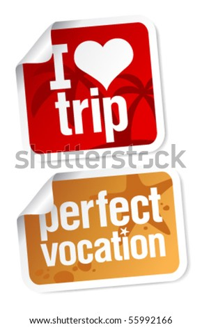 Perfect vacation stickers set