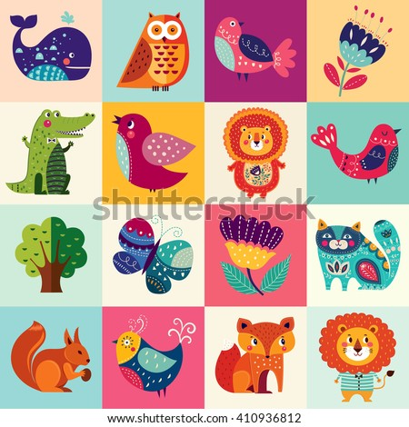 Perfect vector set of illustration in cartoon naive style with funny animals and birds. Lovely cute animals: lion, fox, owl, bird, crocodile, squirrel, whale and cat.