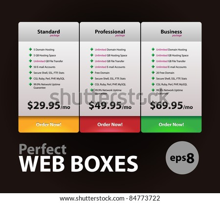 Perfect Web Boxes Hosting Plans For Your Website Design: Banner, Order, Button, Box, List, Bullet
