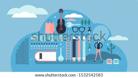 Perfectionism vector illustration. Flat tiny no error system persons concept. Symbolic mind state with need for absolute order and faultless standards. Emotional mental expression trait visualization.