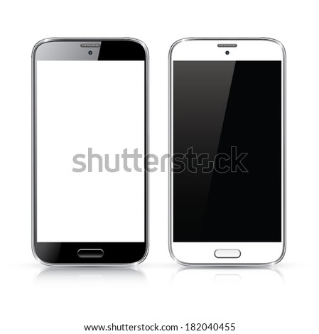 Perfectly detailed vector of modern new black and white smartphones isolated on white