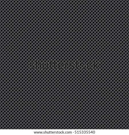 Perforated metal (chrome, steel, iron, silver) texture seamless pattern background, dotted technological vector metallic backdrop, acoustic speaker grill surface with little round holes