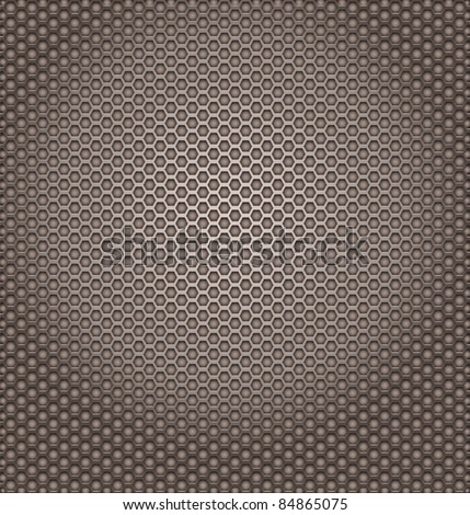 Perforated metal texture. Hexagon shapes