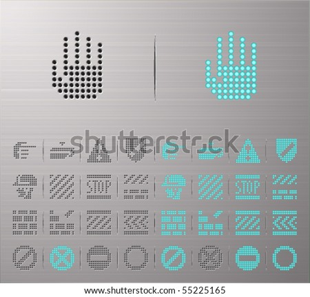 Perforated Under construction buttons - stock vector