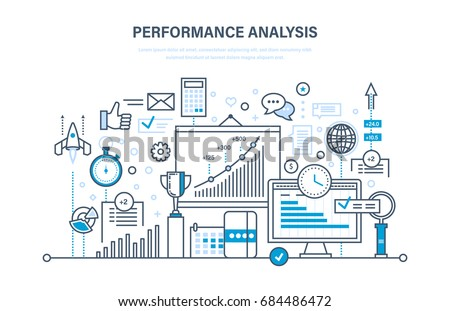 Performance analysis. Market research group, research, statistic, calculations. Implementation of innovations and accounting in projects, time management. Illustration design of vector doodles.