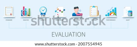 Performance evaluation banner with icons. Standard, Analysis, Quality Assessment, Feedback, Criteria, Performance, Audit. Web vector infographic in 3D style.