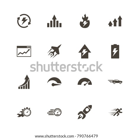 Performance icons. Perfect black pictogram on white background. Flat simple vector icon.