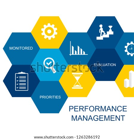 Performance Management Concept. Composed of icons in the form of a hexagon.