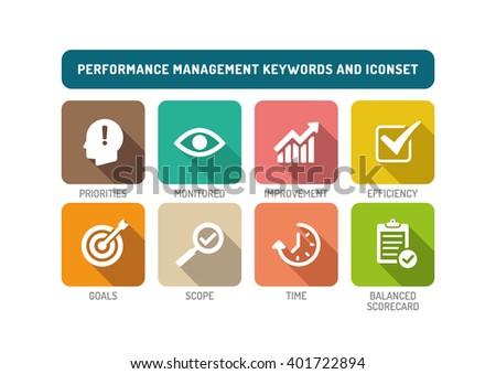 Performance Management Flat Icon Set