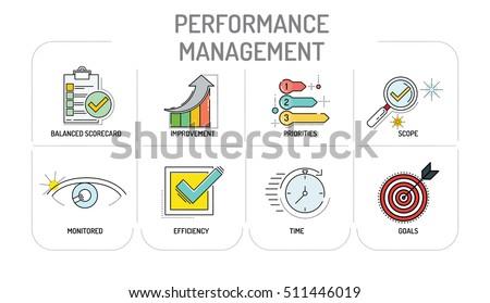 PERFORMANCE MANAGEMENT - Line icons Concept
