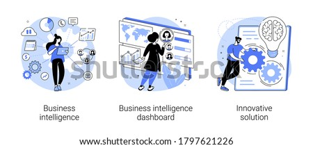 Performance tools and software solutions abstract concept vector illustration set. Business intelligence, intelligence dashboard, innovative solution, data analysis, KPI metrics abstract metaphor.