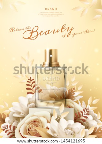 Perfume ads with light yellow paper flowers on the stage in 3d illustration