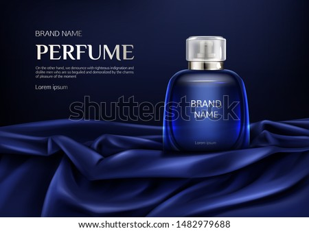 Perfume bottle on silk folded fabric background. Glass flask with dark blue liquid, packaging design mock up. Scent fragrance cosmetic beauty product, promo ad banner. Realistic 3d vector illustration