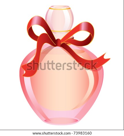 Perfume bottle pink with red ribbon - stock vector