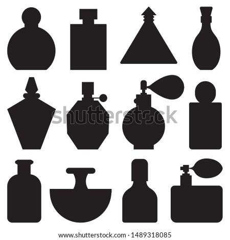 Perfume bottle silhouettes in outline monochrome style. Various toilet water bottles and colognes in outline monochrome style.