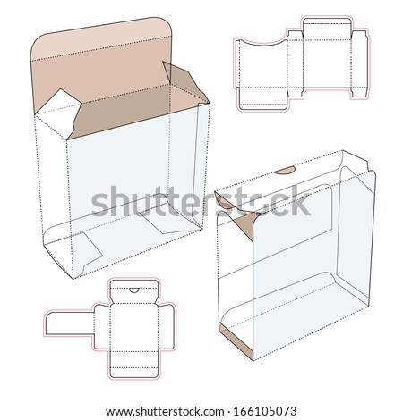 Perfume cardboard box with blueprint template stock vector for Cologne box template