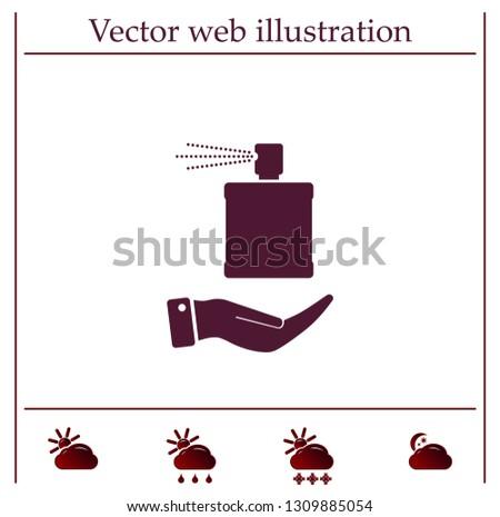 Perfume, eau de toilette, perfumery on the hand. Vector icon.