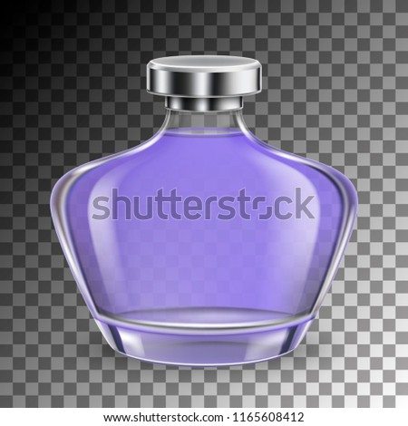 Perfume glass bottle in realistic style on transparent background isolated. vector illustration