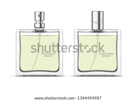 Perfume glass bottle mockup, blank cosmetic bottles template. Package design. Realistic 3d vector illustration isolated on white background Foto stock ©