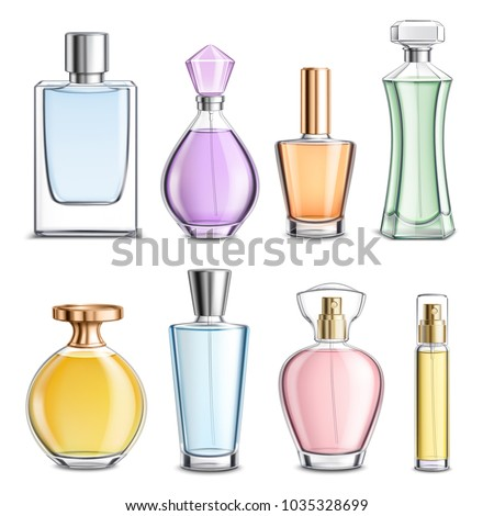 Perfume glass bottles various shapes caps and color 3d  realistic set on white background isolated vector illustration